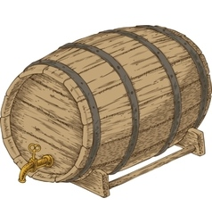 Wooden oak barrel with an iron rims vector