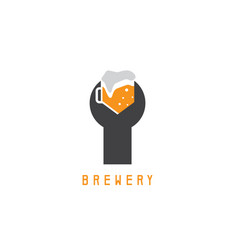 Wrench with beer mug design template vector