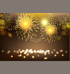 golden firework on city landscape background for vector image vector image
