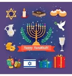Jewish holidays hanukkah or chanukah icons vector image