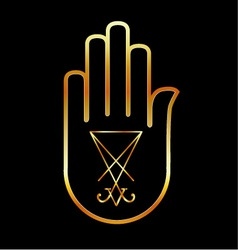 Sigil of Lucifer in a palm vector image