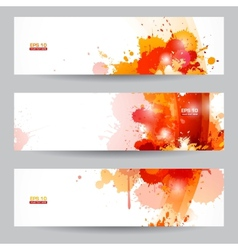 Three abstract artistic headers with paint splats vector image