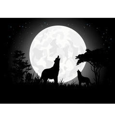 Wolf scream silhouette with Giant Moon background vector image