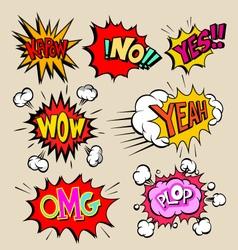 Boom set comic book explosion vector image