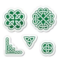 Celtic green knots patterns - vector