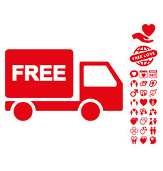 free delivery icon with lovely bonus vector image vector image