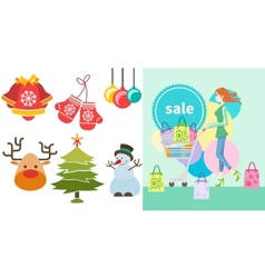 Girl with trolley shopping bag and lable vector image