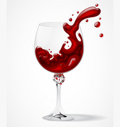transparent glass with splashed red wine on white vector image vector image