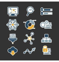 Business data analytic flat style icons set vector image