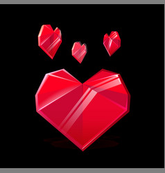 composition of red crystal heart isolated vector image