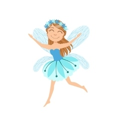 Cute fairy with chaplet girly cartoon character vector