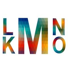 Mosaic alphabet letters K L M N O vector image vector image