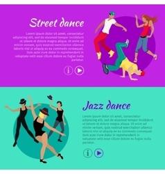 Set of Dancing Web Banners in Flat Design vector image vector image