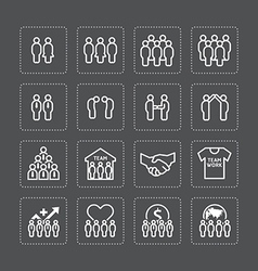 team and business silhouette icons flat vector image