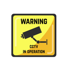 warning yellow square sign of cctv in operation vector image vector image
