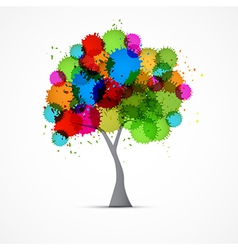 Abstract Tree With Colorful Blots Splashes vector image vector image