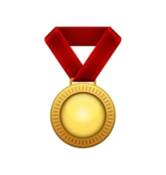Champion Gold Medal with Red Ribbon vector image vector image