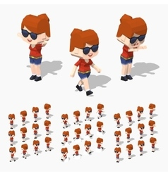 Low poly redhead girl vector image vector image