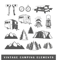 Set camping silhouettes vector image vector image