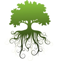 Silhouette of a tree with abstract roots vector image