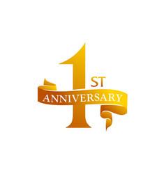 1 year ribbon anniversary vector