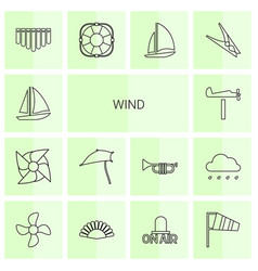 14 wind icons vector