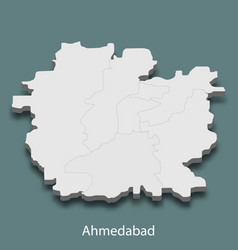 3d isometric map of ahmedabad is a city of india vector