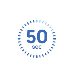 50 second timer clock 50 sec stopwatch icon vector
