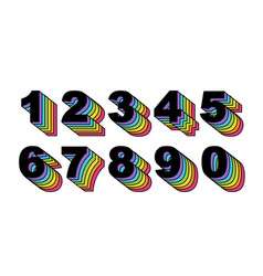 80 s retro numbers rainbow vintage alphabet vector image
