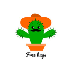 A funny of a cactus giving free hugs vector