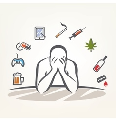 Addict man and set addiction symbols outlined vector