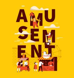 amusement park banner set pop-corn store vector image