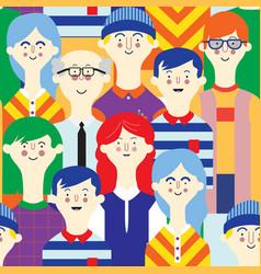 avatars character people set flat female male vector image