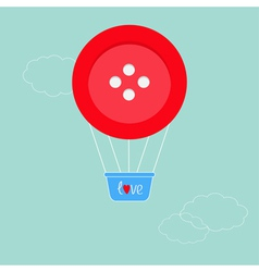 Big red button hot air balloon dash line clouds fl vector