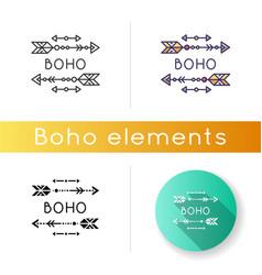 Boho aesthetic arrows icon bohemian and hippie vector