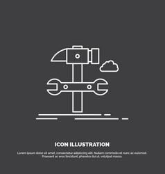 build engineering hammer repair service icon line vector image