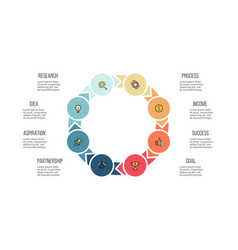 business infographics circle with 8 parts arrows vector image