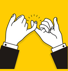 Business promise hands gesturing on yellow vector