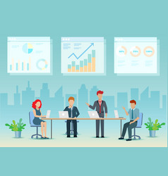 businessman meeting at office analysing graph vector image