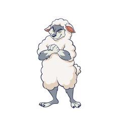 Cartoon cunning wolf wearing sheep clothing vector