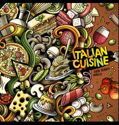 cartoon doodles italian food frame vector image