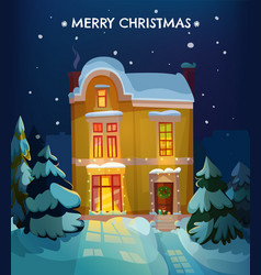 Christmas house poster vector