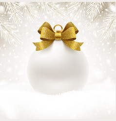 Christmas white bauble with glitter gold bow vector