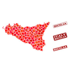 Composition of red mosaic map of sicilia island vector