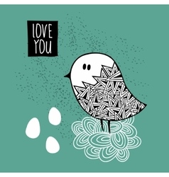 Creative print with hand drawn bird vector