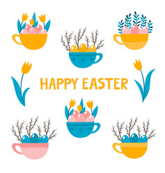 cute cup with eggs and elements for easter vector image