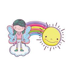 Cute little fairy with rainbow and sun vector
