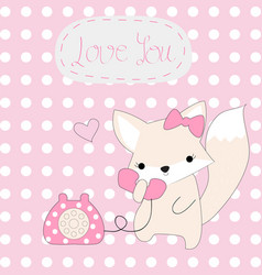 Cute pink fox girl hello telephone vector