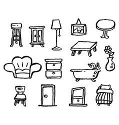 doodle series furniture vector image