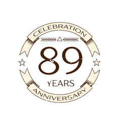 eighty nine years anniversary celebration logo vector image
